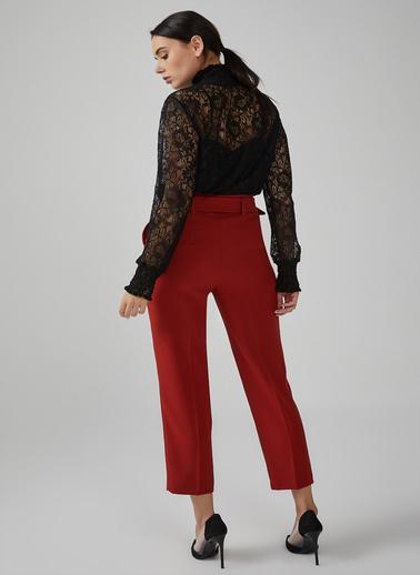 Gusto Kadın Kırmızı Beli Kemerli Yüksek Bel Krep Pantolon 20KG009121 Kiremit